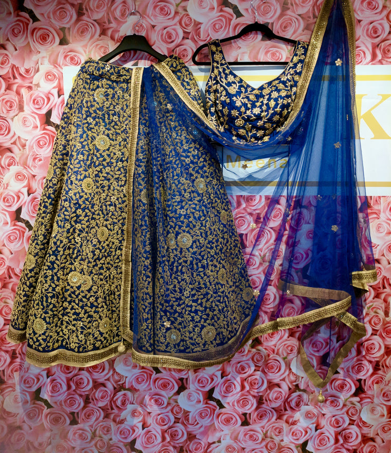 Navy blue regal lengha