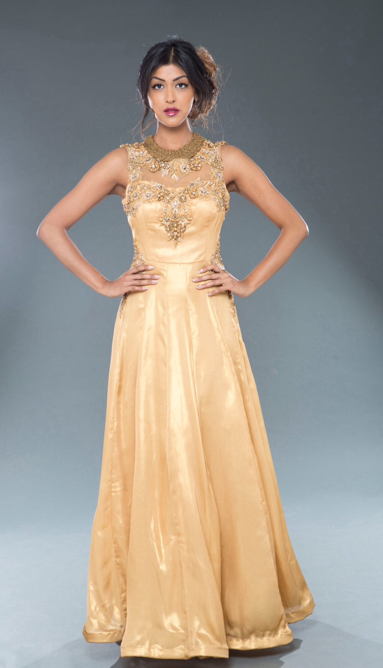 Georgette shimmer gold Ball Gown