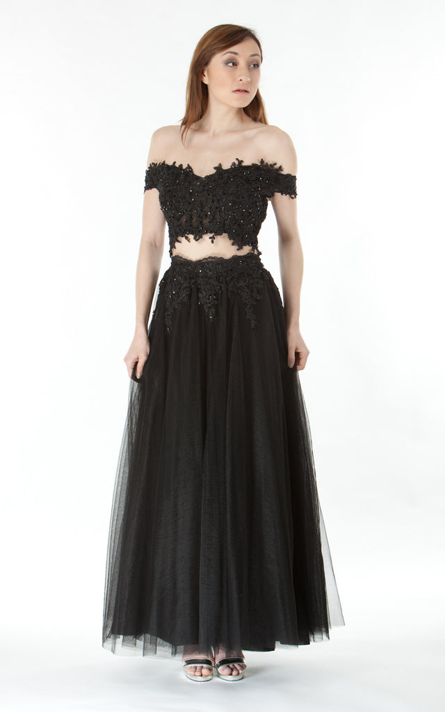 Two piece lace crop top and skirt-black