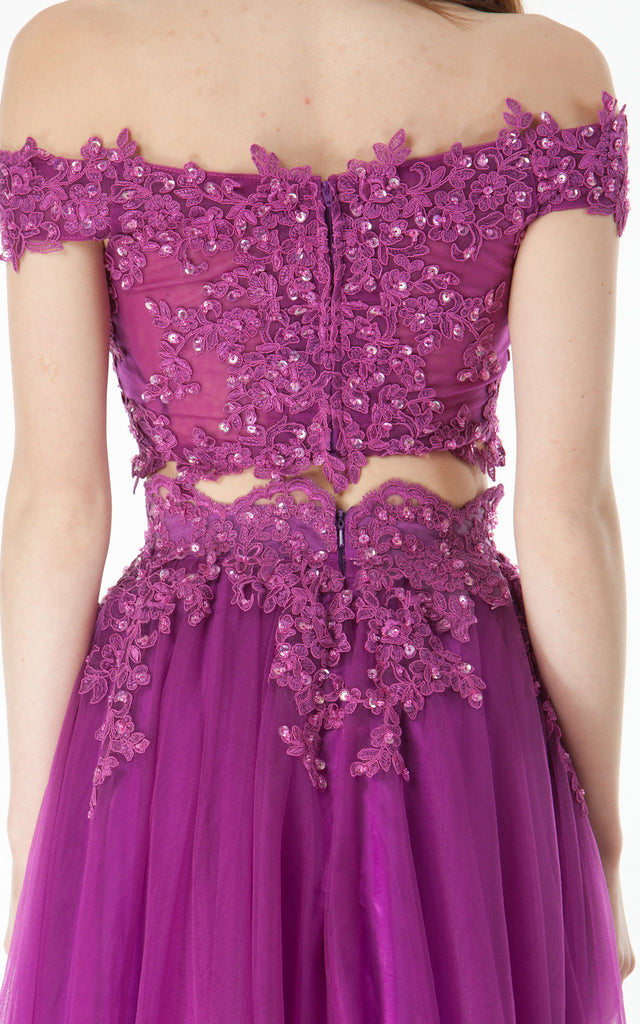 Two piece lace crop top and skirt-plum