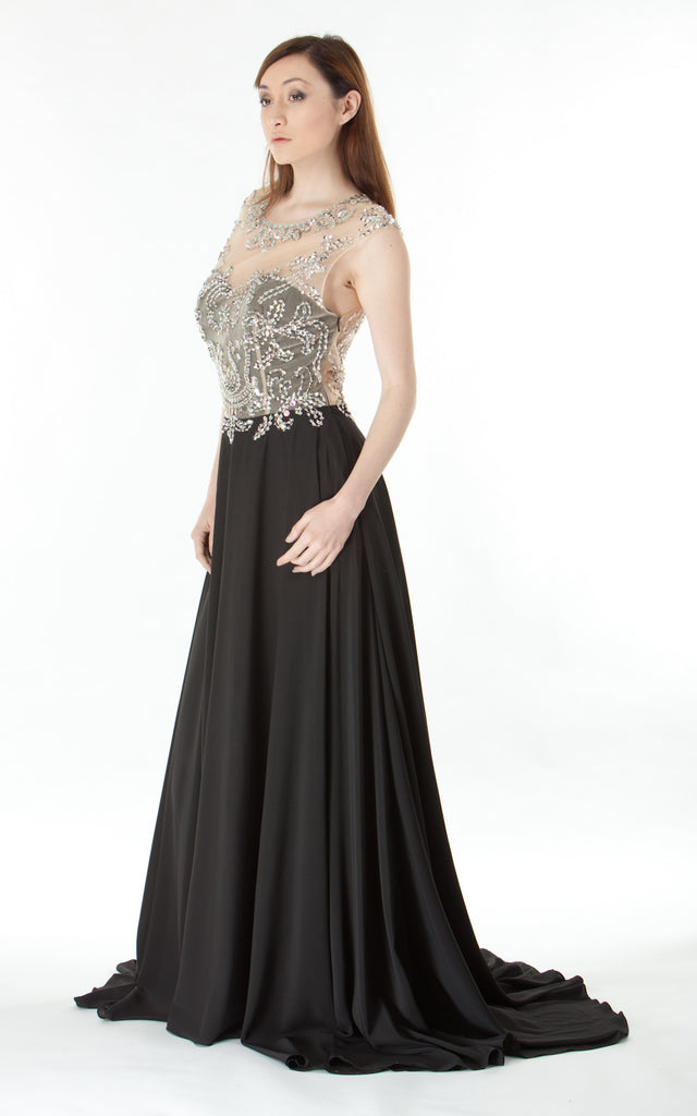 Silver and Rhinestone Beaded Gown-black