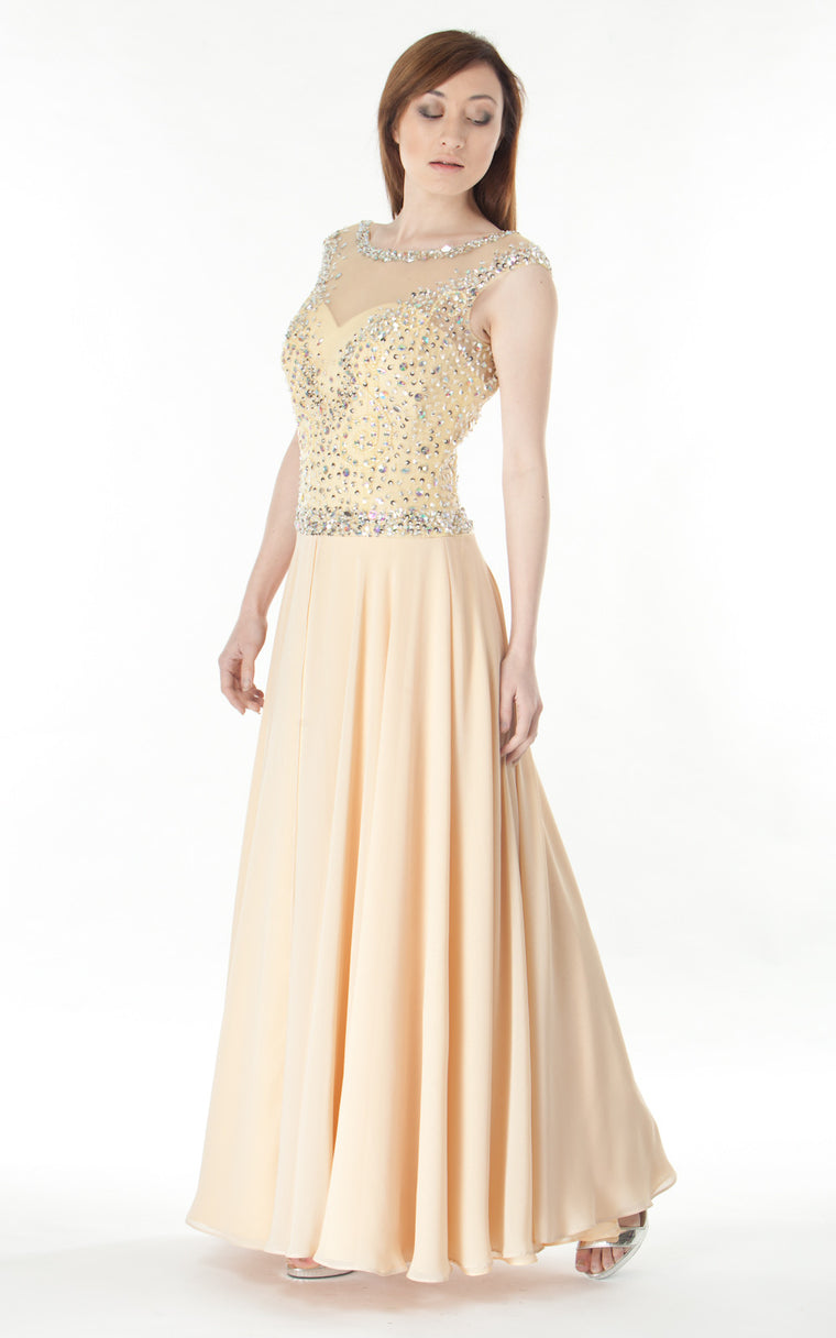 Tulle Gown Embellished Bodice-peach