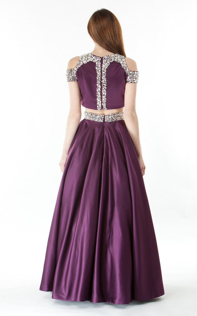 Two piece silk satin Skirt and Top-purple