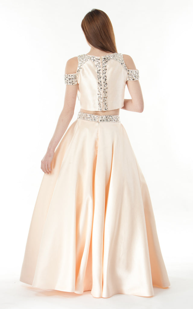 Two piece silk satin Skirt and Top-peach