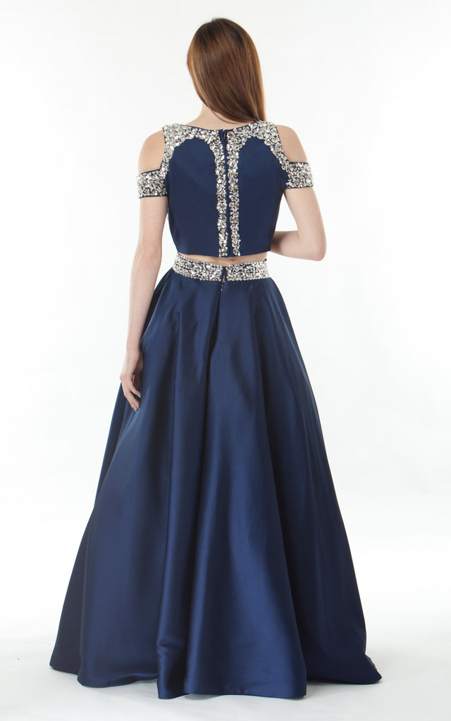 Two piece silk satin Skirt and Top-blue