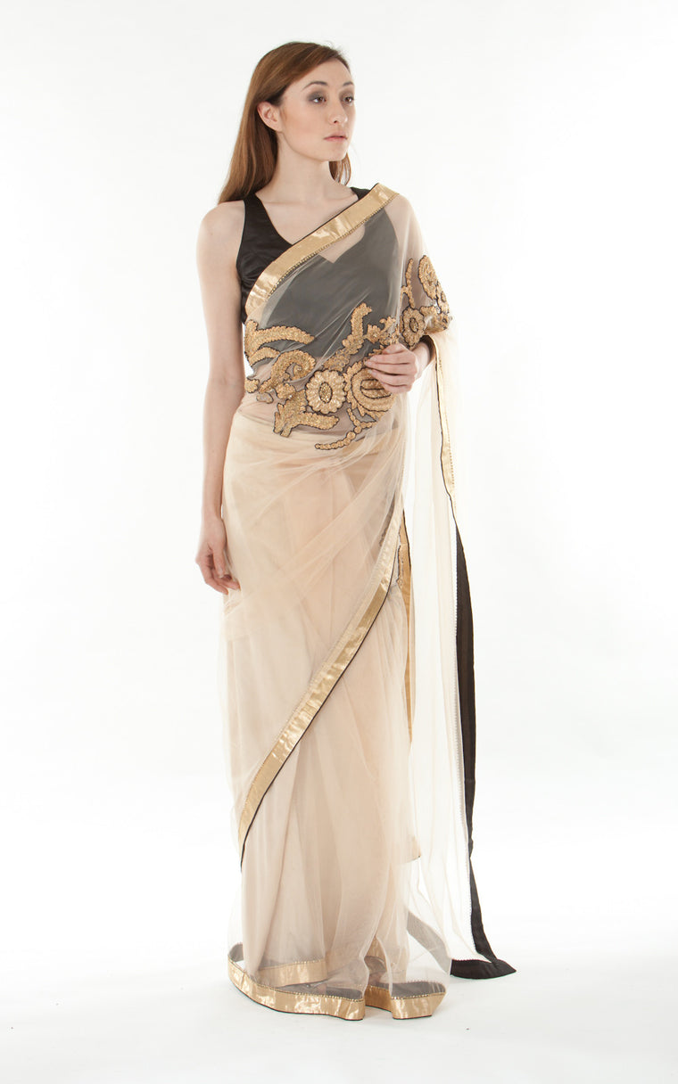 Embellished Metallic Silk Saree- gold