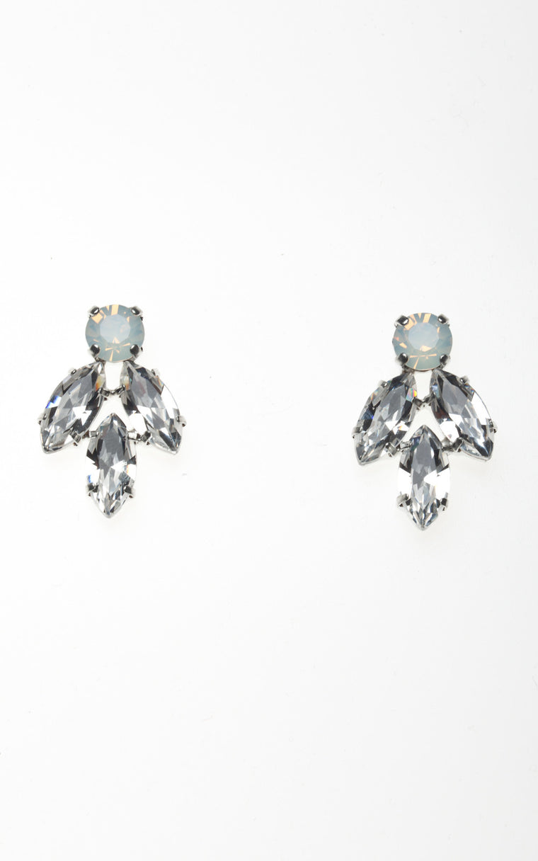 Opal stone stud earrings with diamond spikes