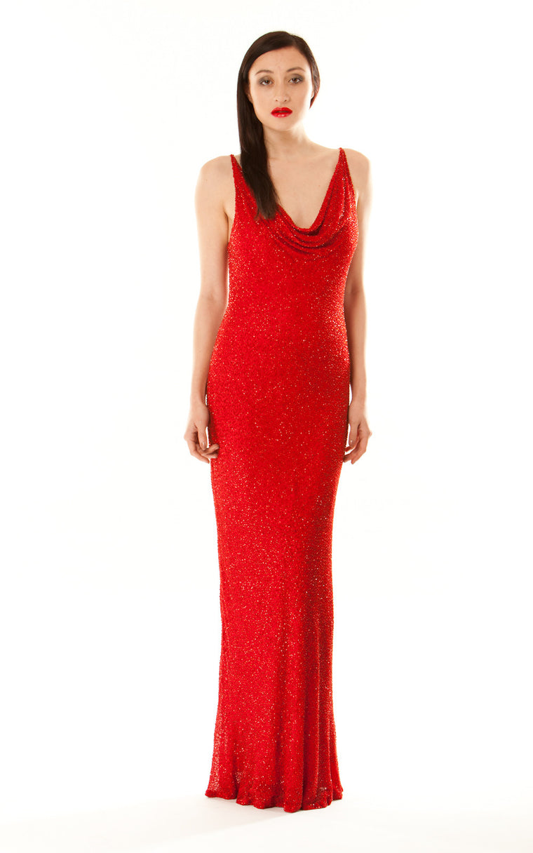 Red Beaded Long Dress