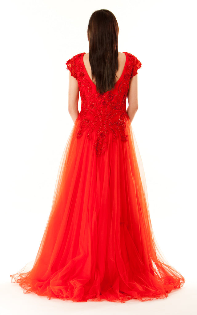 Short Sleeved Ball Gown