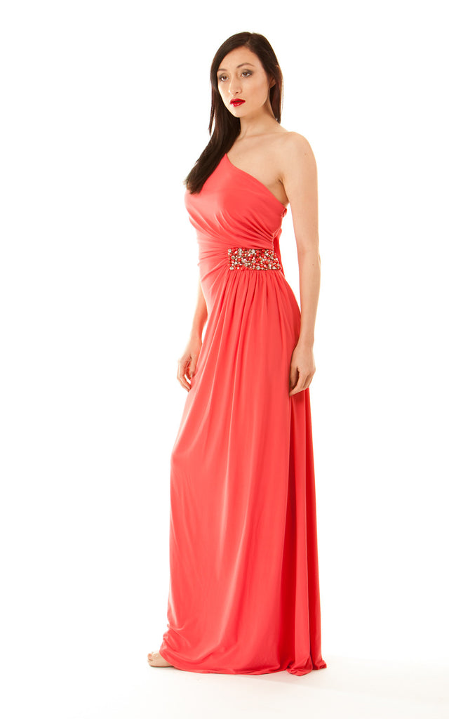 One Shoulder Silk Jersey Gown