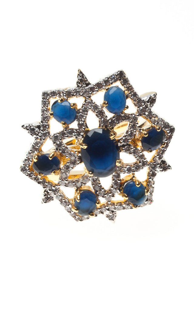 Sapphire stone and diamante Ring