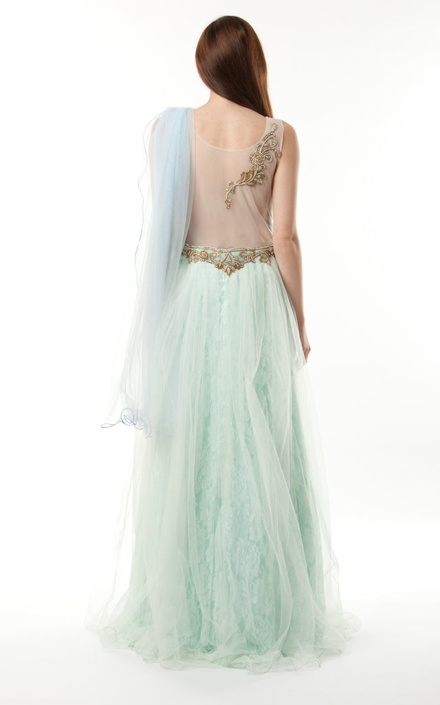 Silk Tulle Lace Gown