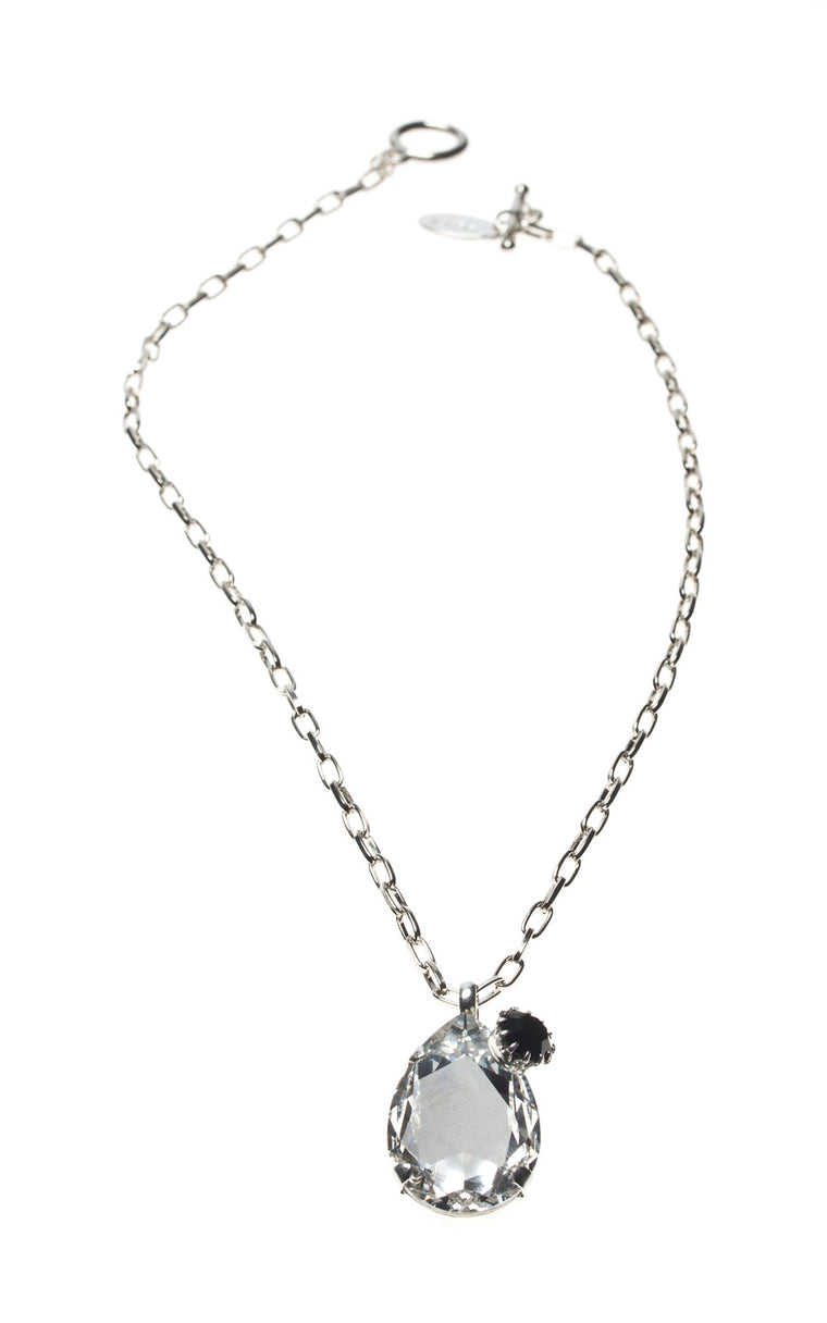 Teardrop Black Swarovski pendant with attached diamante stud