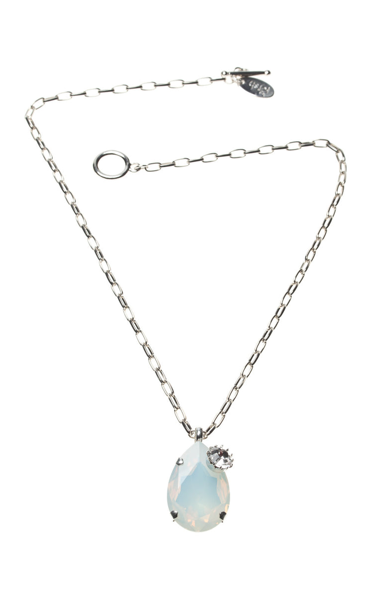 Teardrop Opal Swarovski pendant with attached diamante stud