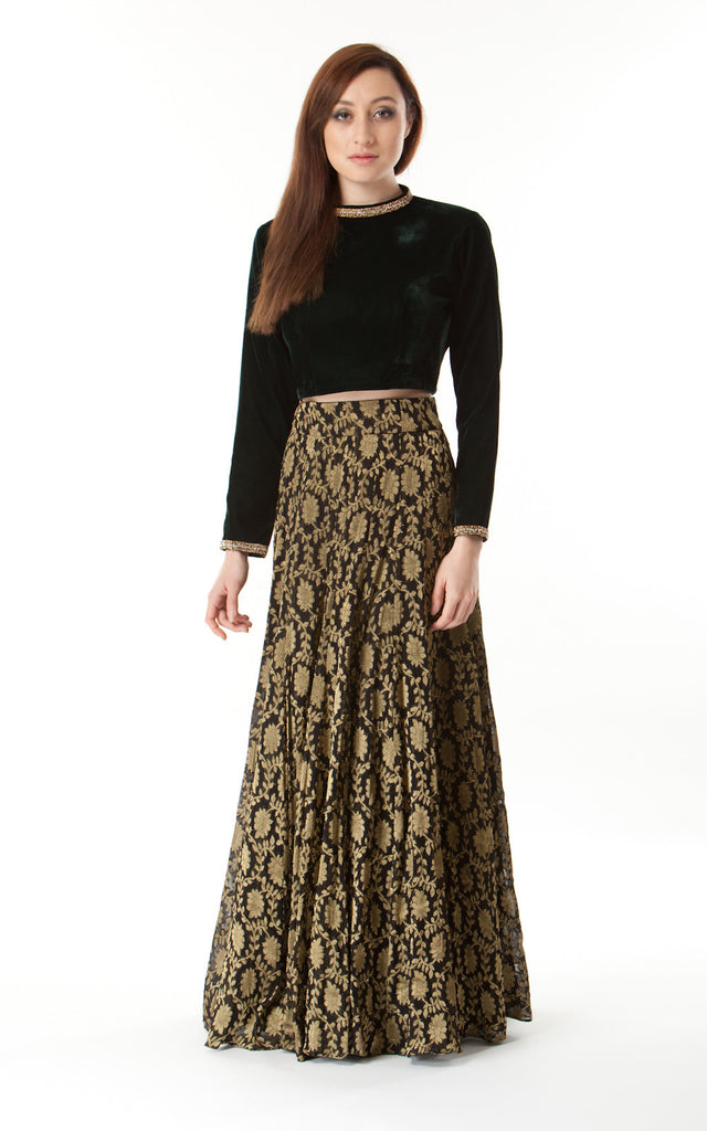 Velvet Top and Brocade Skirt