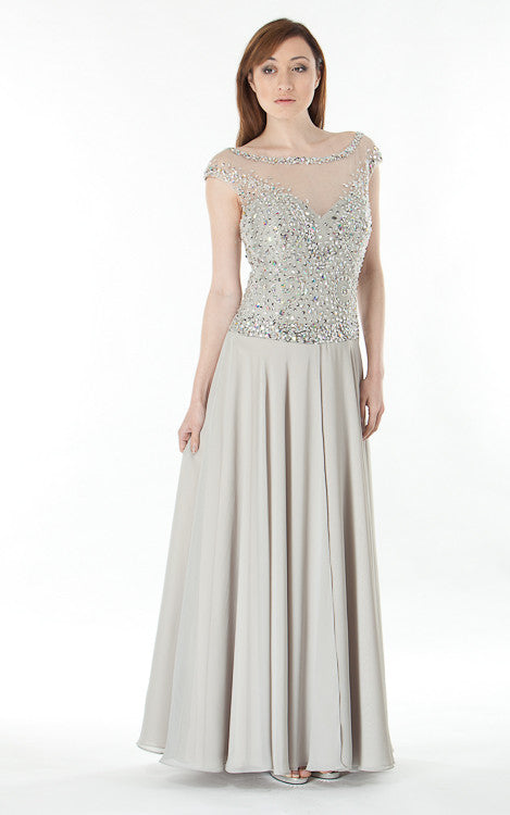 Tulle Gown Embellished Bodice-grey