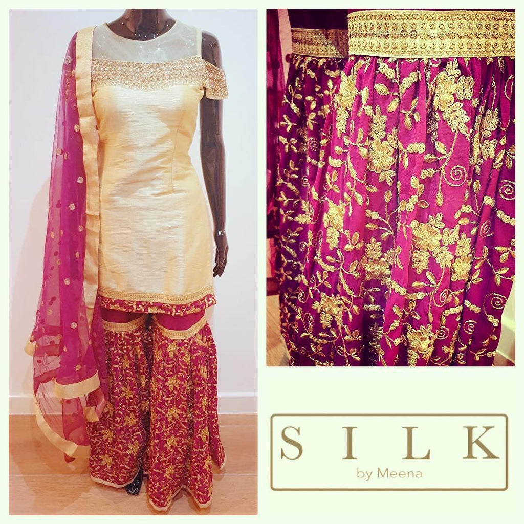 Gold and plum silk suit
