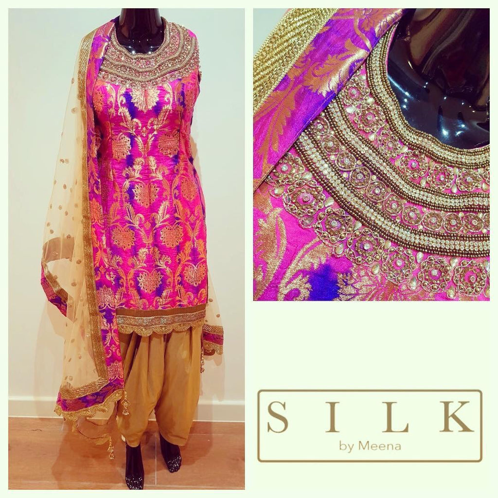 Silk pink and purple suit