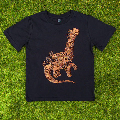 Festisaurus on a children's organic cotton t-shirt - Mild West Heroes  - 1
