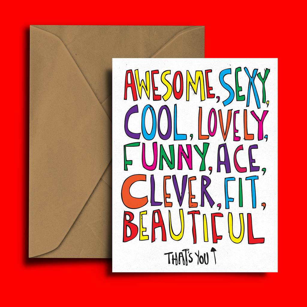 Awesome, Sexy, Cool, Greeting Card