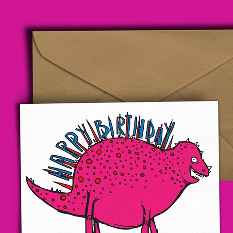 Spiky Dinosaur Birthday Card