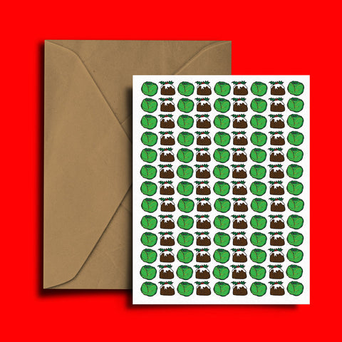 Sprouts Pudding Christmas Card