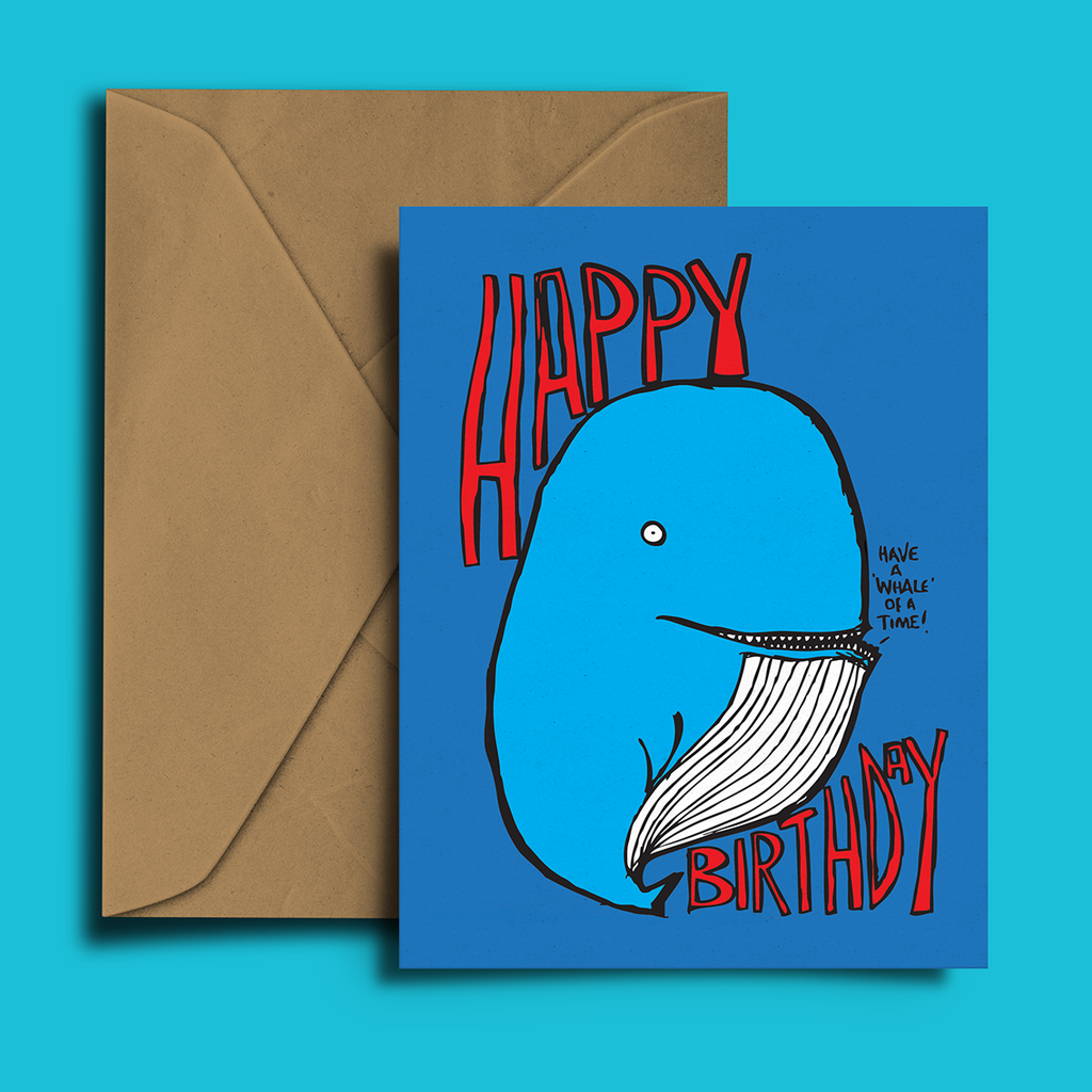 Blue Whale Birthday Card