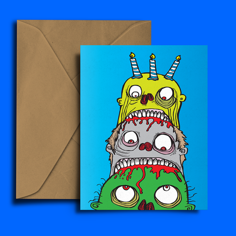 Zombie Birthday Cake Card