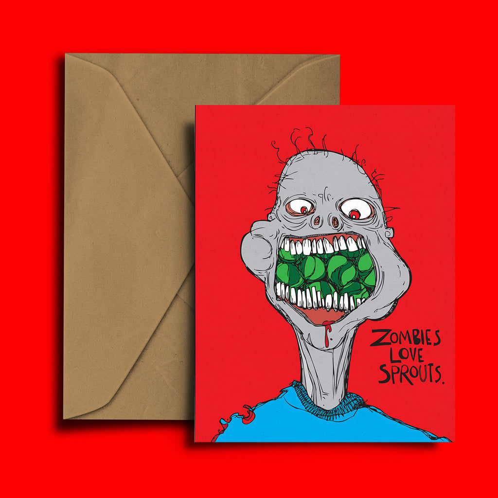 Zombies Love Sprouts Christmas Card