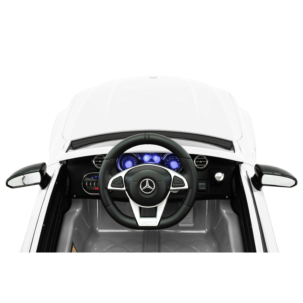 Moderno Kids Mercedes C63S 12V Kids Ride-On Car with R/C Parental Remote | White