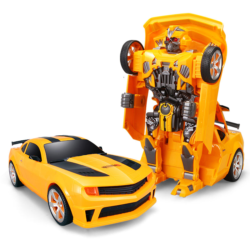 Moderno Kids Battery Operated Transforming Robot-Car with RC Remote Control | Yellow Sports Car