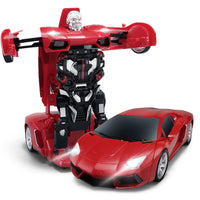 Moderno Kids Battery Operated Transforming Robot-Car with RC Remote Control | Red Sports Car