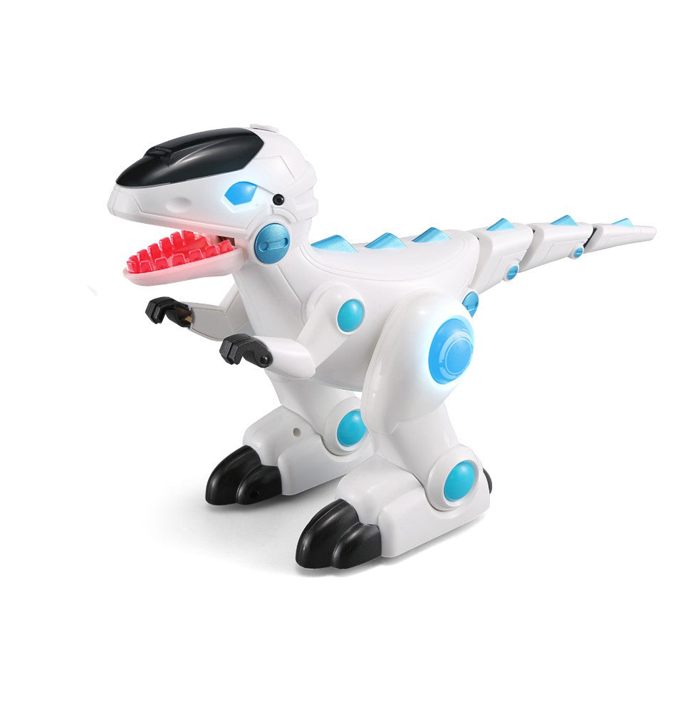 Moderno Kids Interactive Battery Operated Dinosaur with RC Remote Control | White