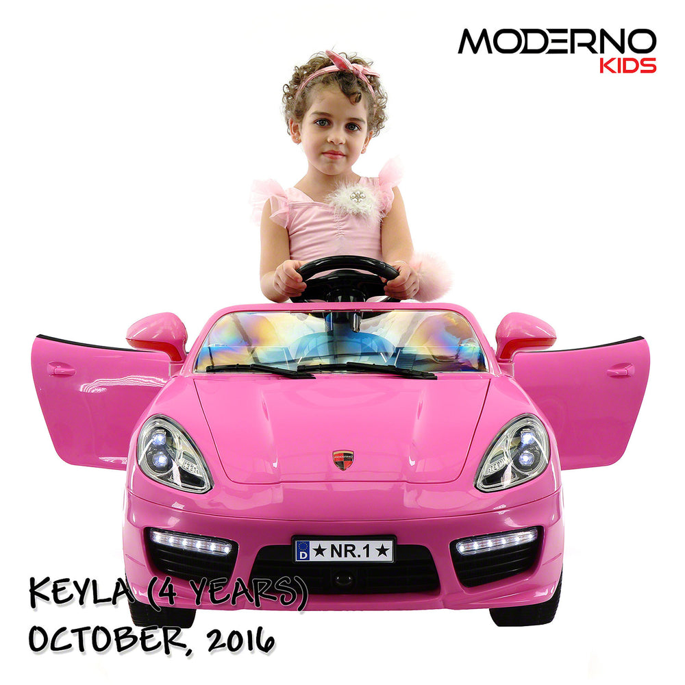 Moderno Kids Kiddie Roadster 12V Kids Electric Ride-On Car with R/C Parental Remote | Pink