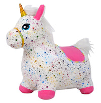 Moderno Kids Inflatable Plush Animal Bouncing / Hopping Ride On Toy | Starlight Unicorn