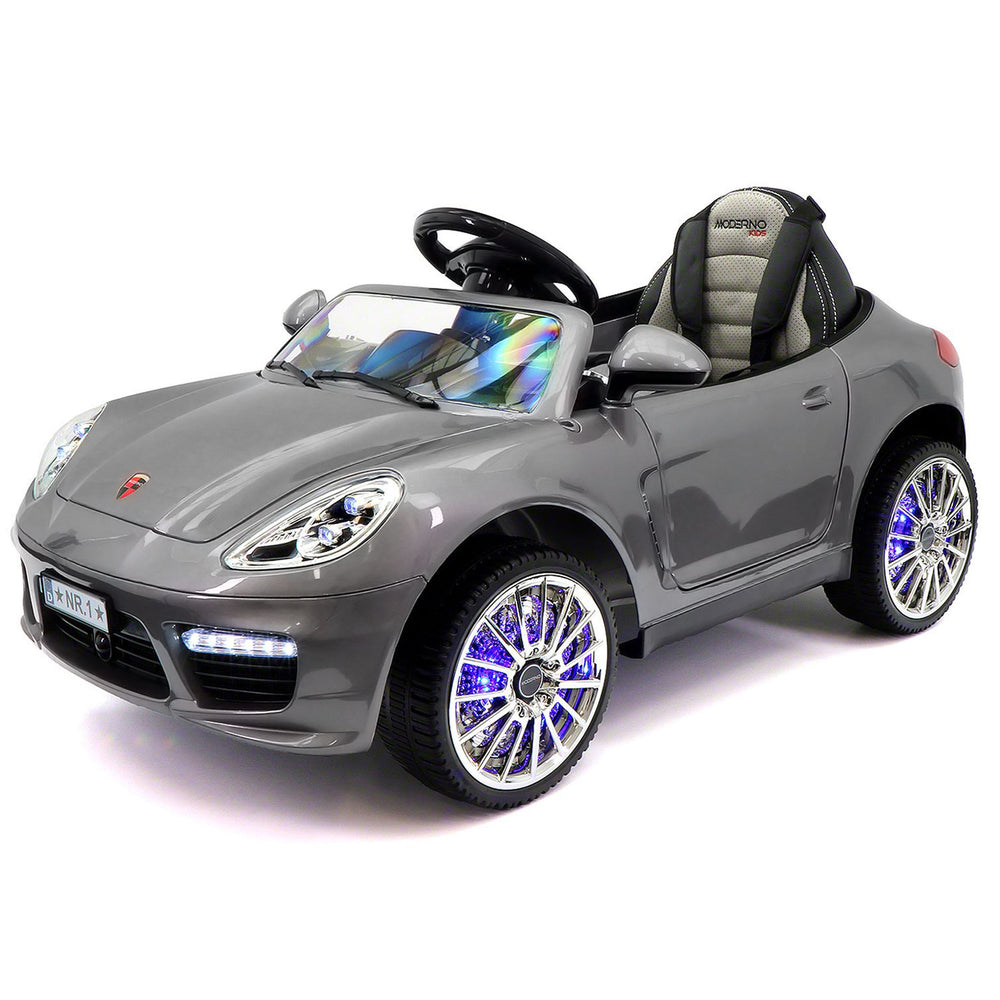 Moderno Kids Kiddie Roadster 12V Kids Electric Ride-On Car with R/C Parental Remote | Gray Metallic