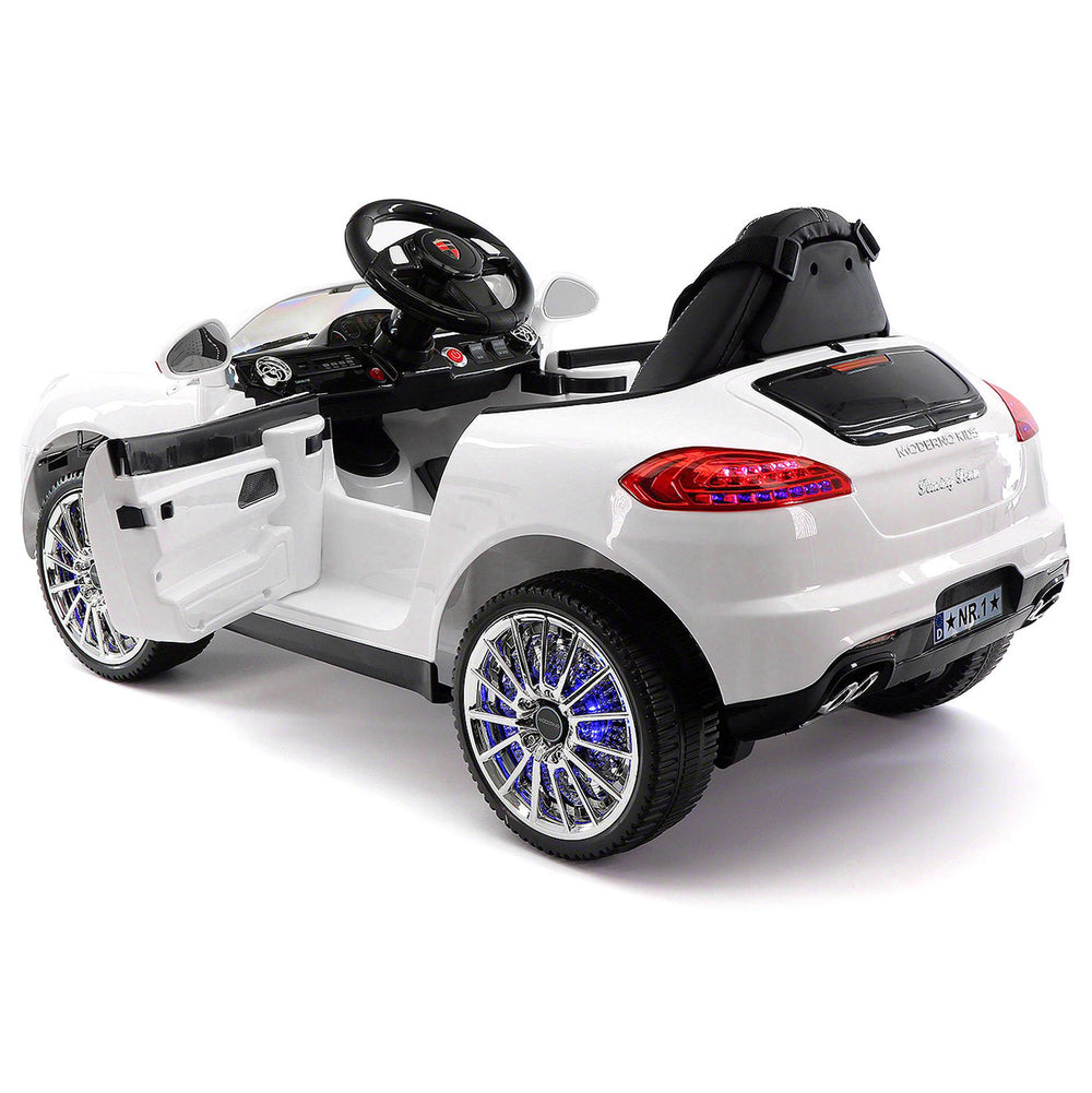 Moderno Kids Kiddie Roadster 12V Kids Electric Ride-On Car with R/C Parental Remote | White