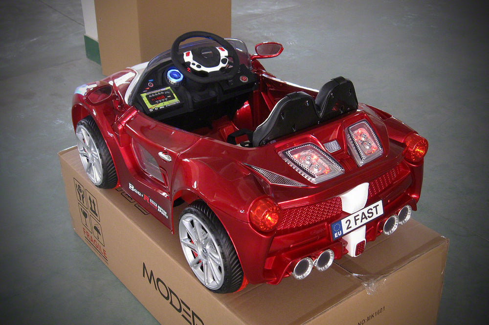Spider GT Kids 12V Ride-On Car with R/C Parental Remote | Cherry Red