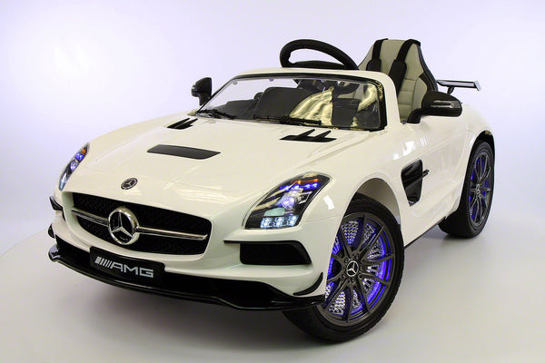 Moderno Kids Mercedes SLS 12V Kids Ride-On Car MP4 Color LCD Battery Powered Wheels RC Remote | White