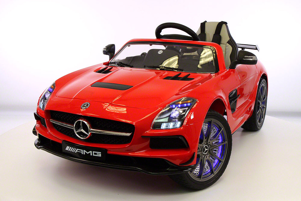 Mercedes SLS 12V Kids Ride-On Car MP4 Color LCD Battery Powered Wheels RC Remote | Red