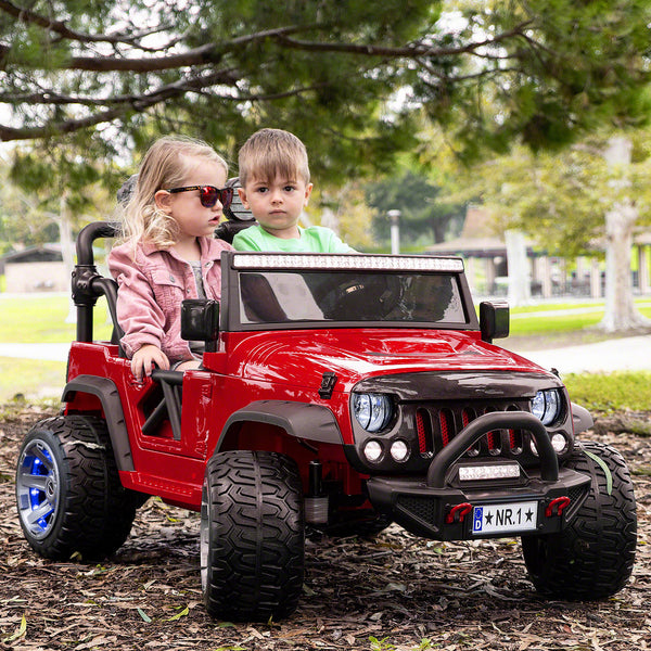 Moderno Kids Trail Explorer 12V Kids Ride-On Car Truck with R/C Parental Remote | Cherry Red