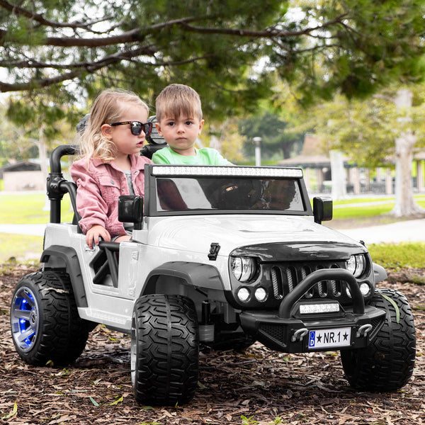 Moderno Kids Trail Explorer 12V Kids Ride-On Car Truck with R/C Parental Remote | White