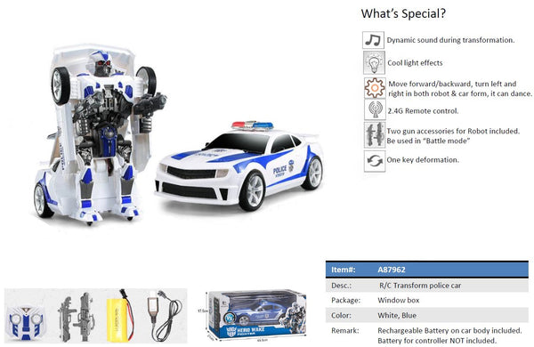 Moderno Kids Battery Operated Transforming Robot-Car with RC Remote Control | Police Car