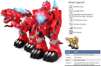 Moderno Kids Battery Operated Transforming Robot-Dragon with RC Remote Control | Red