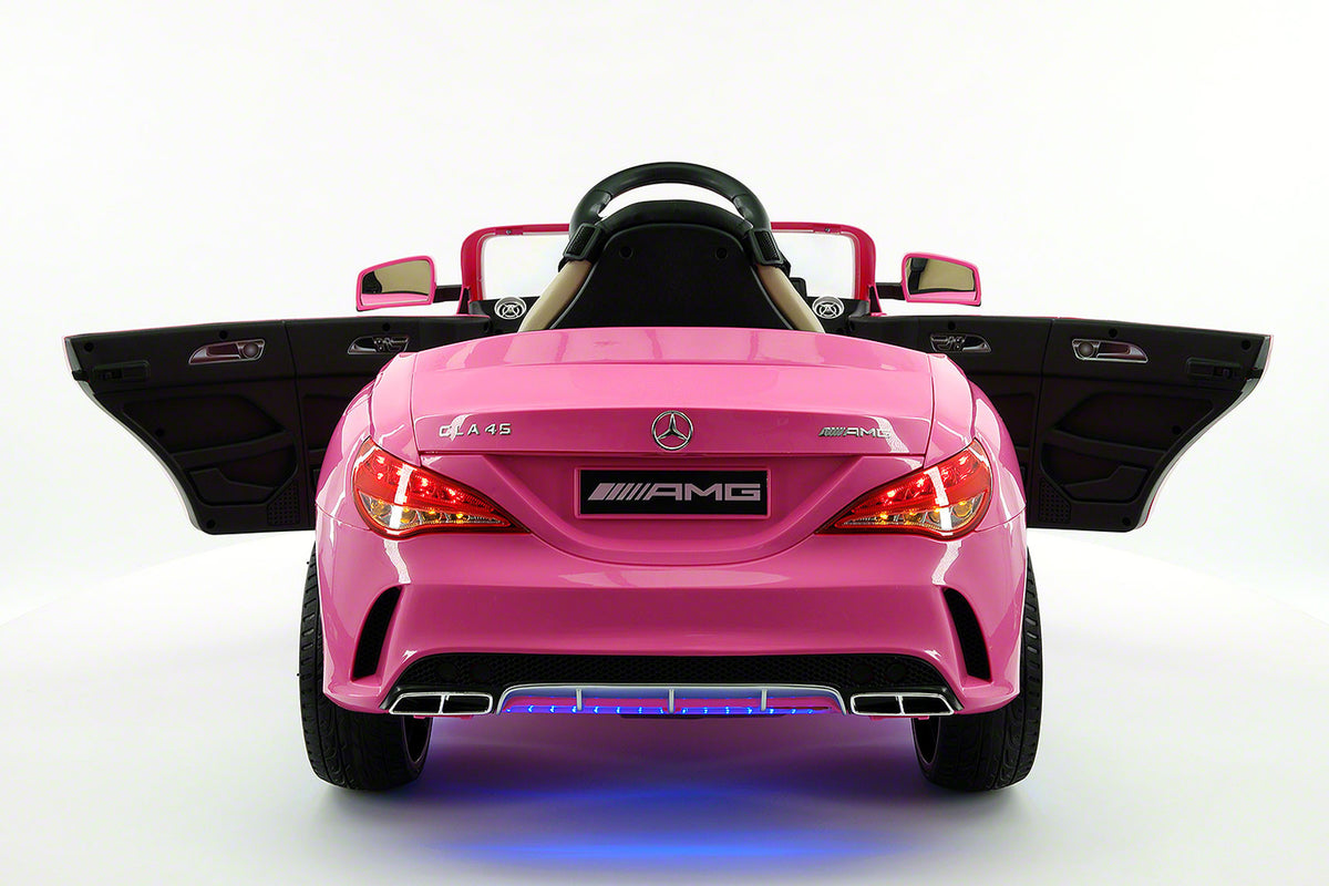 Mercedes cla45 amg 12v kids ride on car with parental for Mercedes benz glowing star