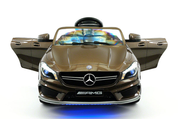 Moderno Kids Mercedes CLA45 AMG 12V Kids Ride-On Car with Parental Remote | Cocoa Brown Metallic - www.ModernoKids.com