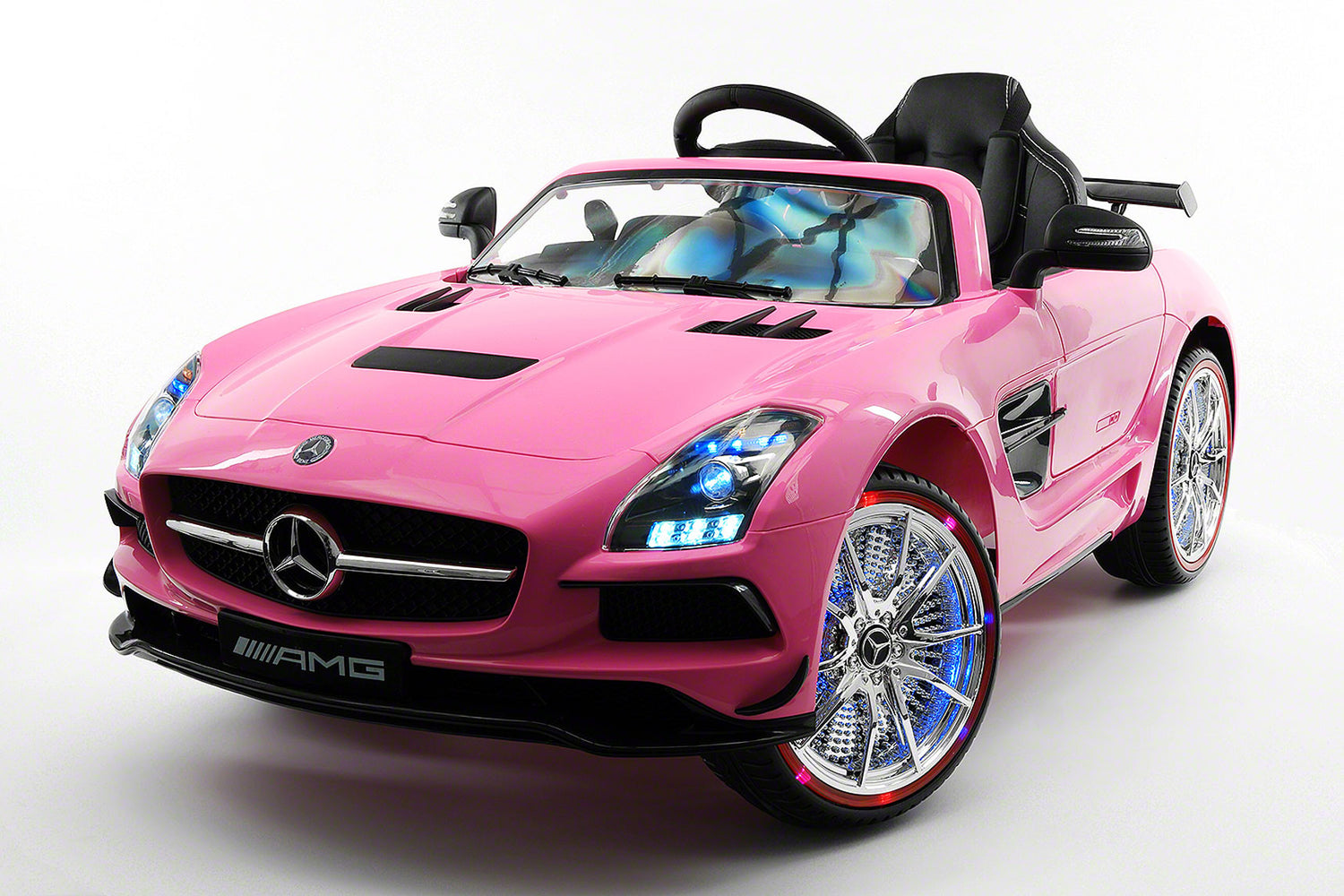 mercedes sls 12v kids ride on car with parental remote pink