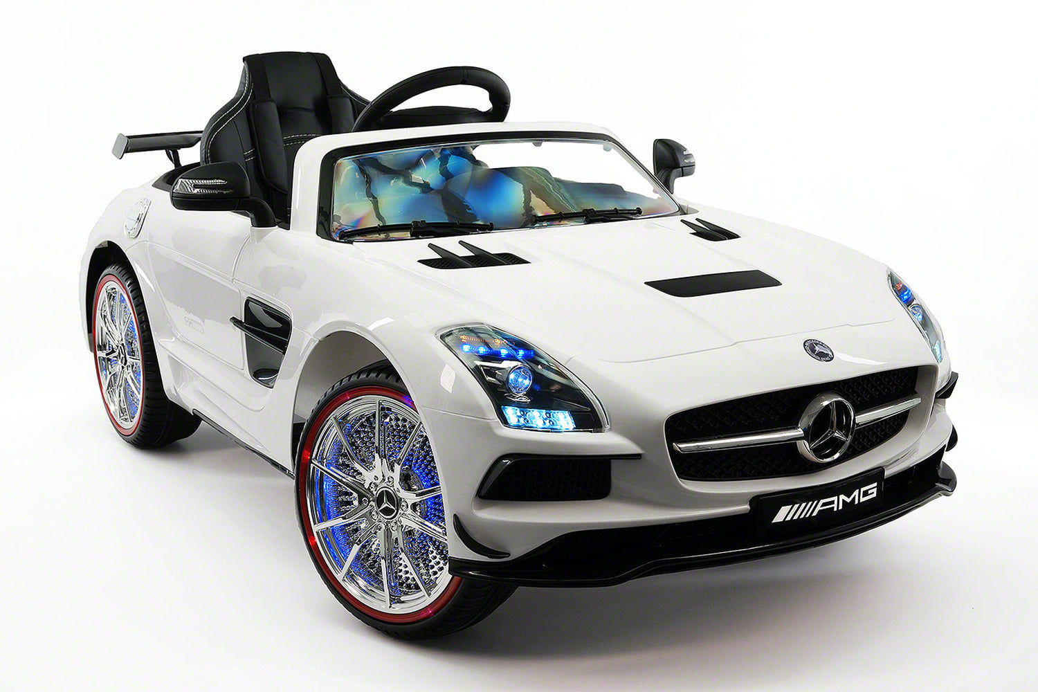 mercedes sls 12v kids ride on car with parental remote white