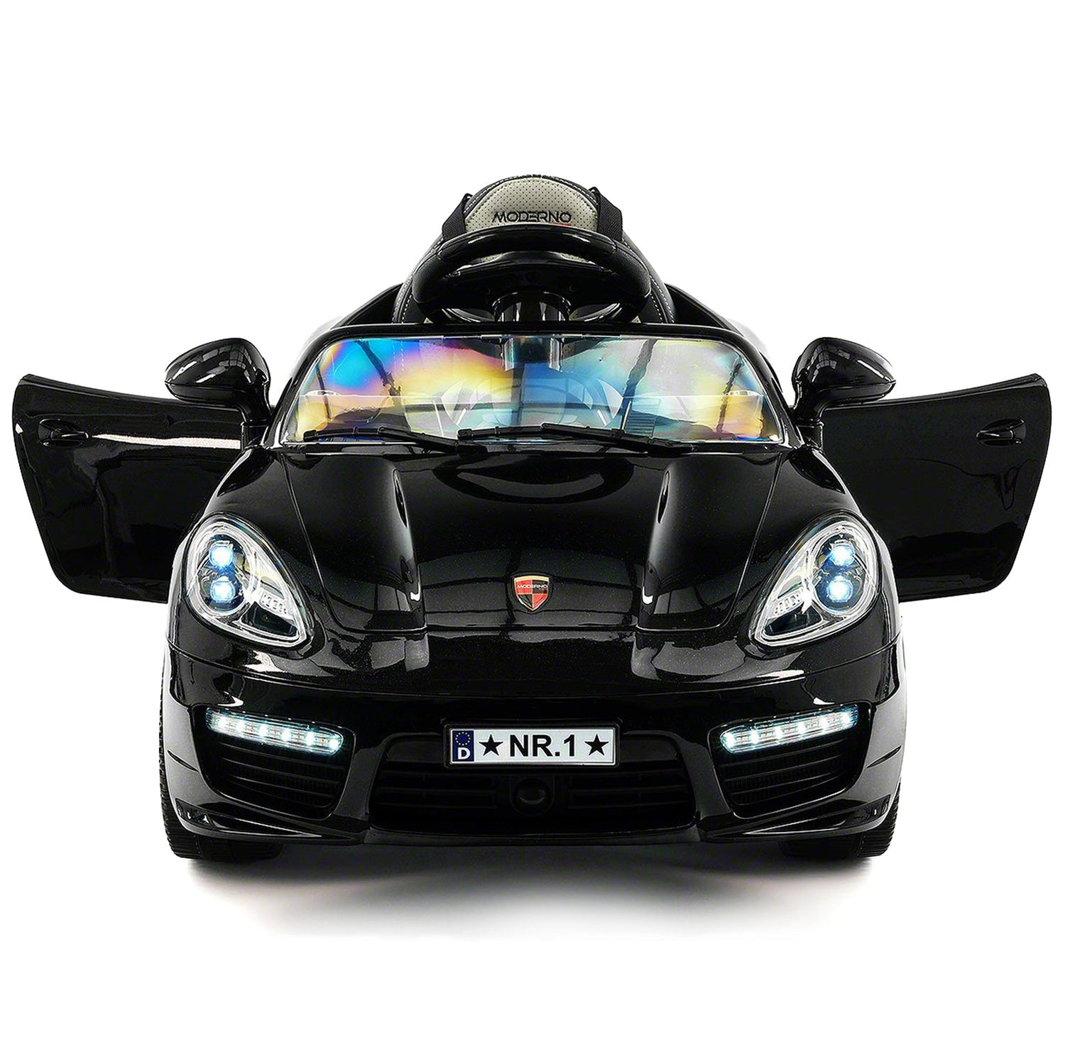 kiddie roadster 12v kids electric ride on car with rc parental remote black metallic