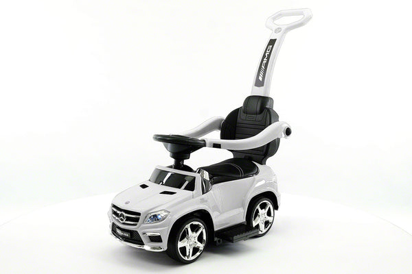Moderno Kids Mercedes GL63 Kids Convertible Ride On Push and Foot to Floor Car | White
